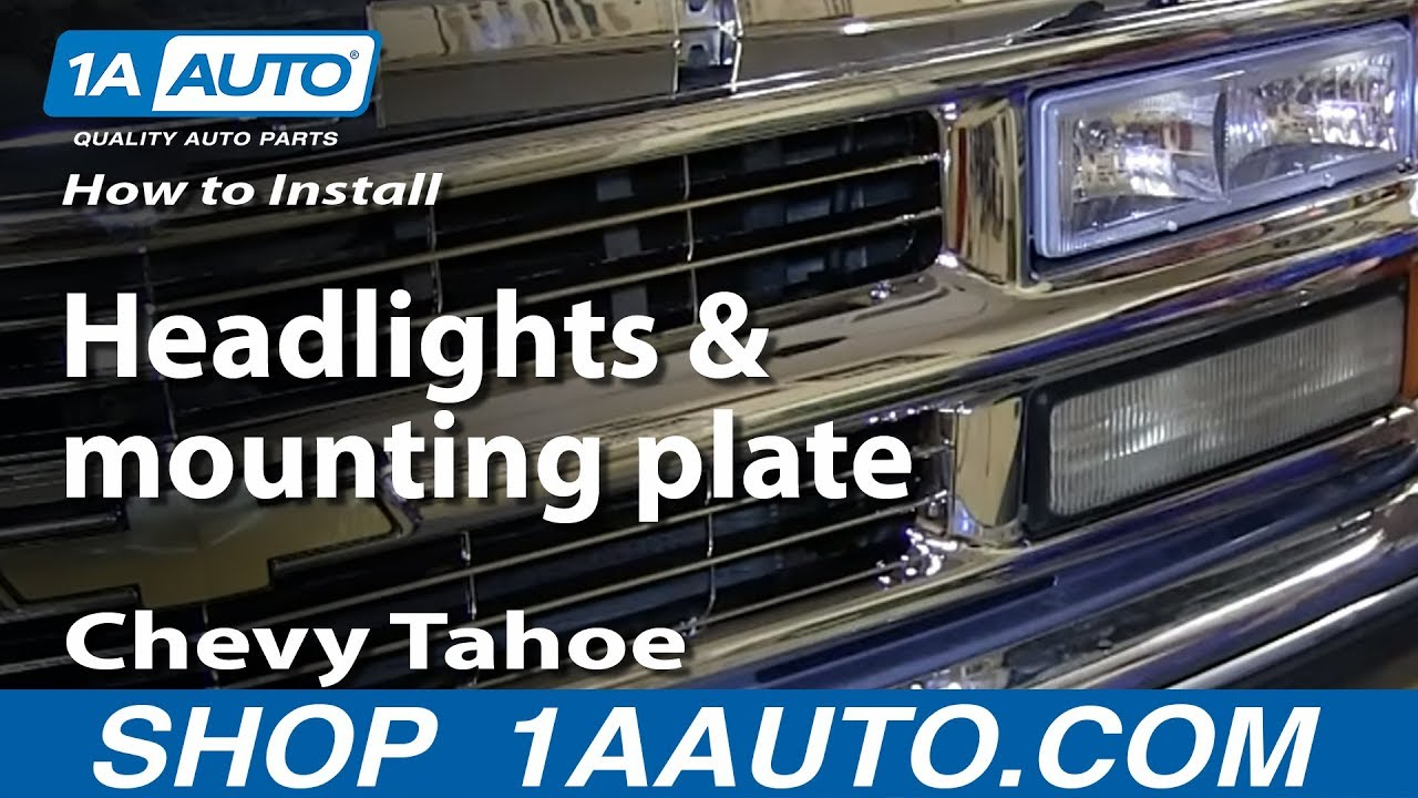 How To Install Replace Headlights And Mounting Plate 1996 99 Chevy 1995 Suburban Wiring Diagram Tahoe C1500 K1500