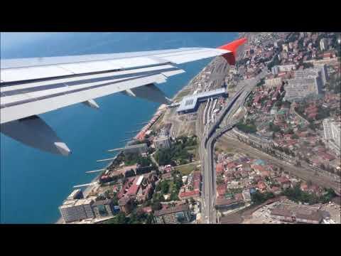 Взлет из Сочи в Ереван на Airbus A321,а/к Северный ветер.Потрясающий вид на Сочи