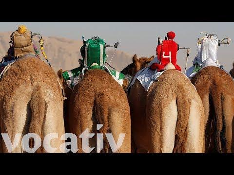 Remote-Controlled Robot Camel Jockeys Replace Children In Desert Race thumbnail