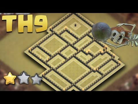 Clash of Clans | Town Hall 9 Anti 3 Star War Base (TH9 BEST Anti Valkyrie) Jun 2016 + Replays