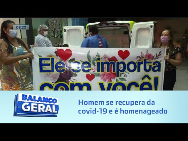 Alívio: Após 10 dias internado com Covid-19, homem é recebido pela família na porta de hospital