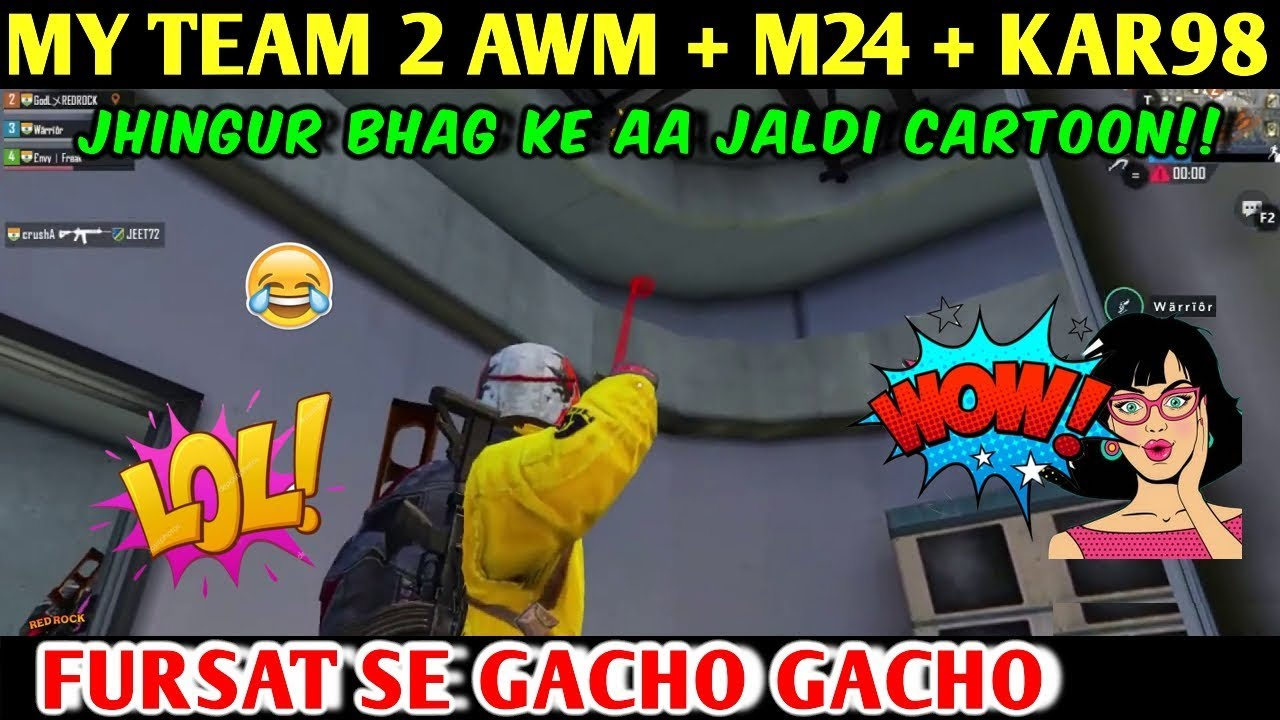 ENEMY HINDING IN MILITARY BASE SECRET PLACE, MY TEAM 2 AWM + M24 + KAR98 | PUBG MOBILE | RED ROCK