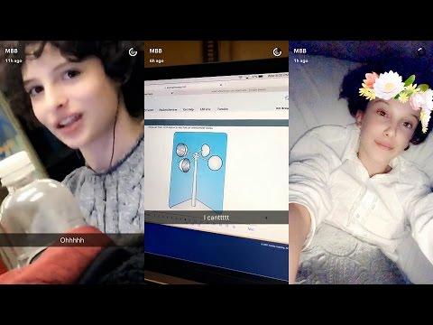 Millie Bobby Brown ( ELEVEN ) ► Snapchat Story ◄ 5 April 2017 w/ Finn Wolfhard ( MIKE ) thumbnail