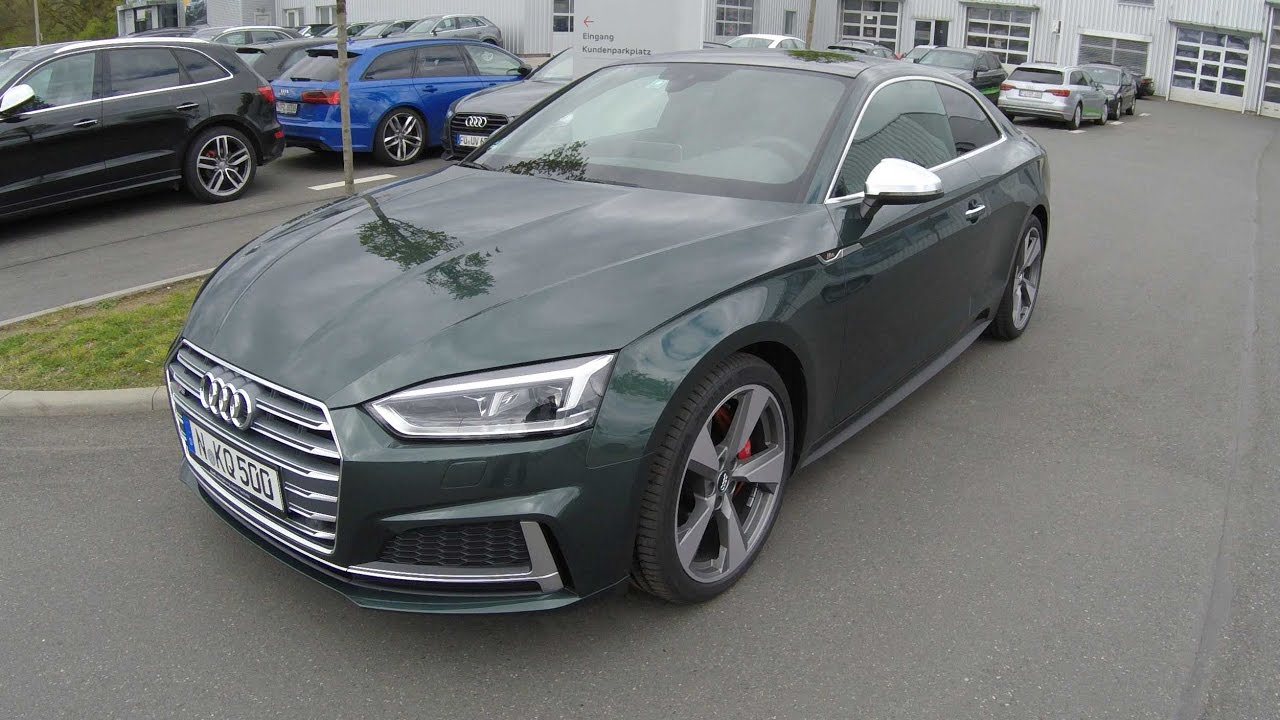 AUDI S5 COUPE ! NEW MODEL 2017 ! A5 TYPE F5 ! WALKAROUND ! GOTLAND GREEN COLOUR ! - YouTube