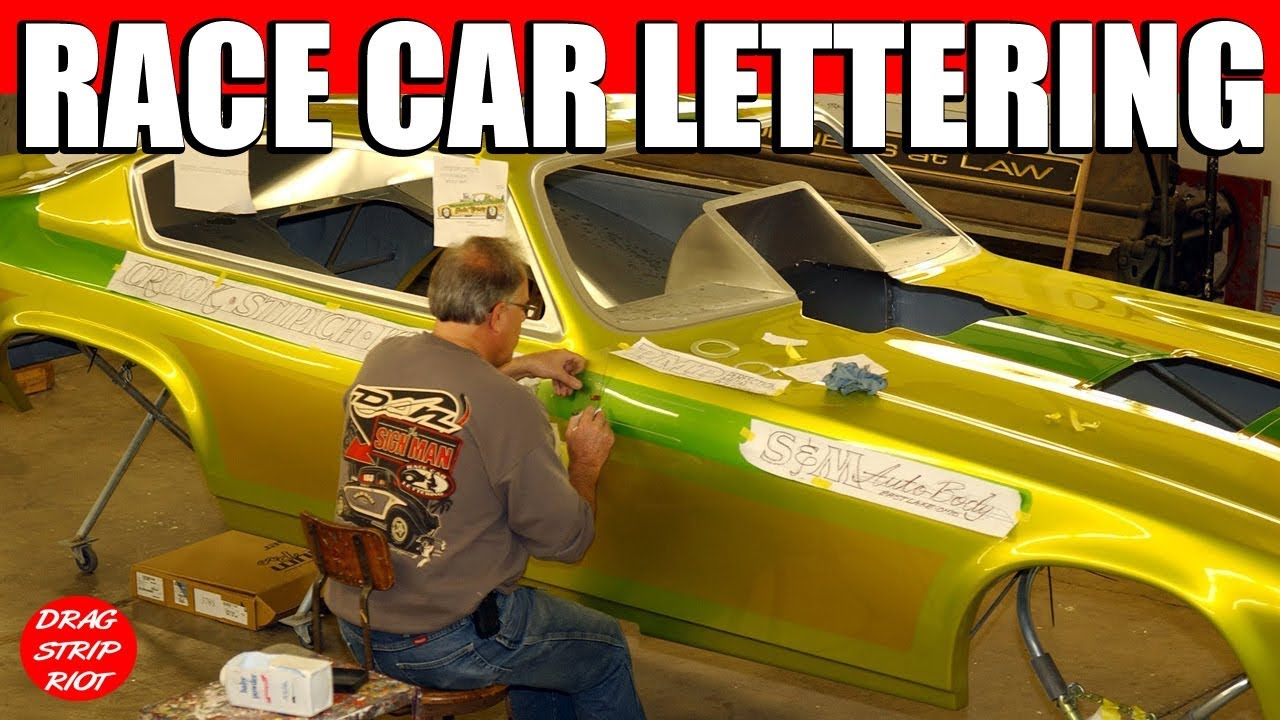 Funny car hand lettering time lapse video pinstriping gold for Car painting school
