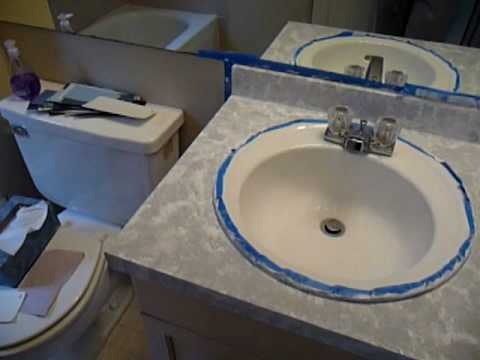 How To Paint Laminate Countertops YouTube - Painting bathroom vanity laminate