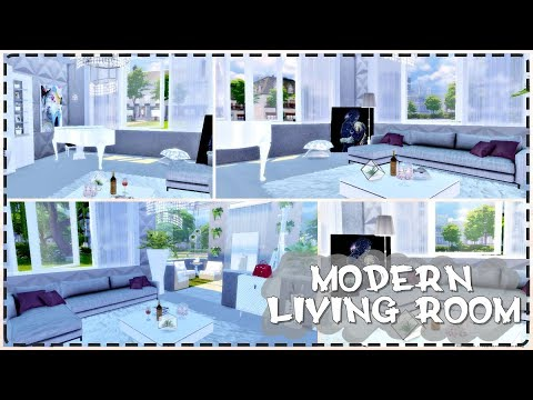 Modern Living Room   The Sims 4   Speed Build + Tour + Download - YouTube