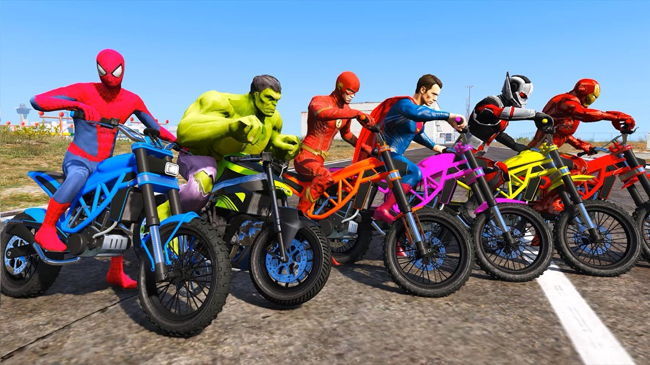 SPIDERMAN Parkour Motos Challenge At the Aéroport Avec Hulk, Ironman, Superman, Antman, Flash |GTA 5