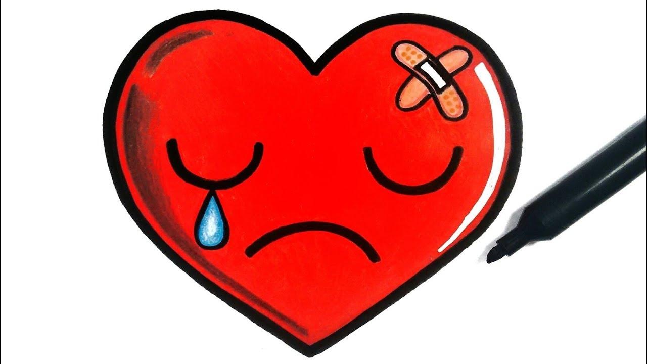 How To Draw A Sad Heart Youtube