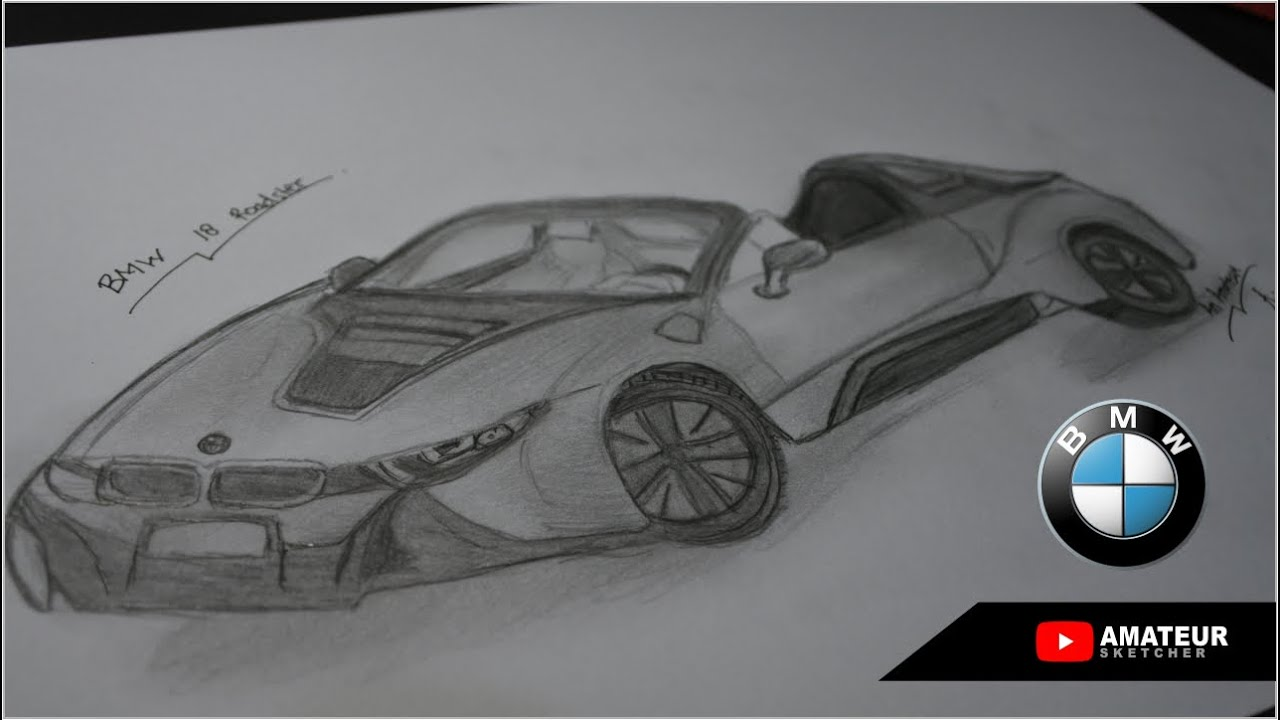 Draw A Car With A Pencil Bmw I8 Roadster Youtube