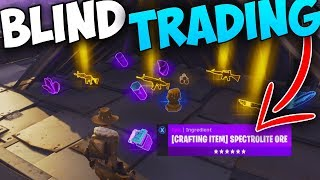 BLIND TRADING my RAREST and BEST ITEMS! *GOES WRONG* - Fortnite Save The World