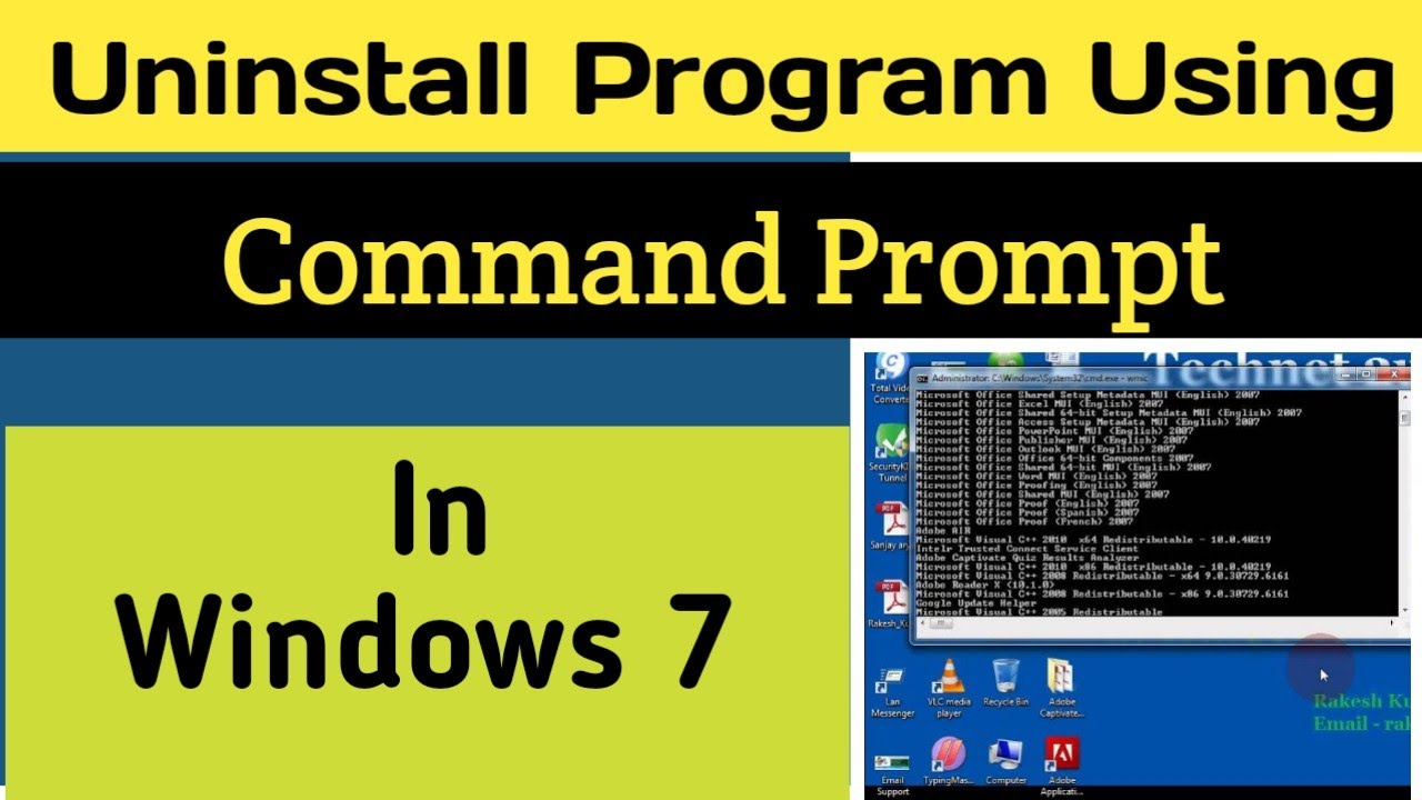 How to Uninstall Program using Command Prompt In Windows 7