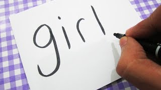 How to turn words GIRL into a Cartoon ! Learn drawing art on paper for kids