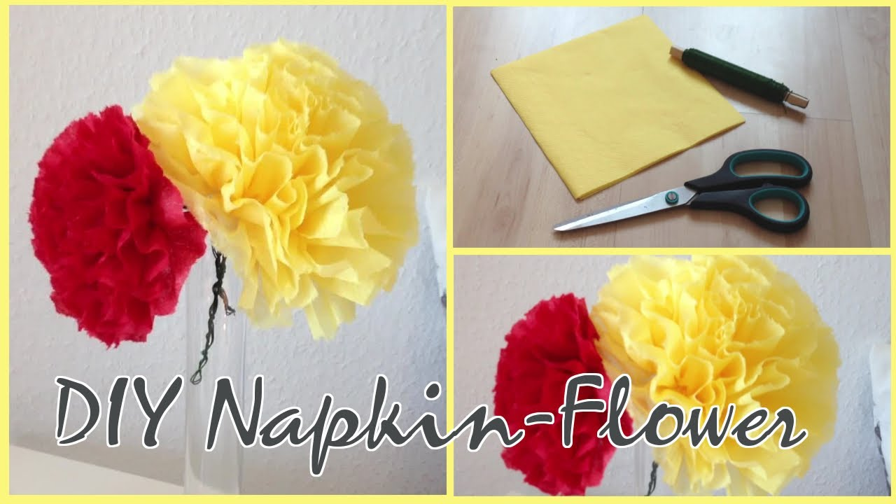 Diy easycute napkin flower youtube mightylinksfo