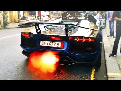 Supercars in London – June 2014 (4 Veyrons, 2 P1s, LaFerrari, many Aventadors + flames)