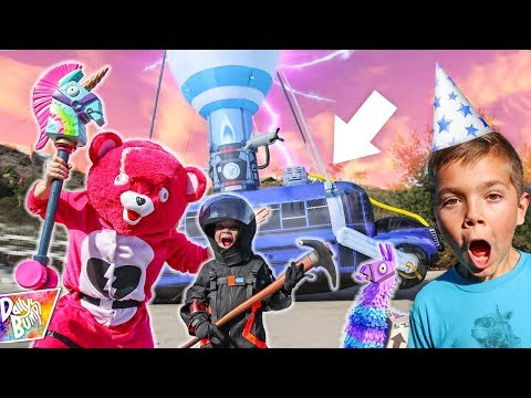 Fortnite Battle Bus CRASHES at Birthday Party!
