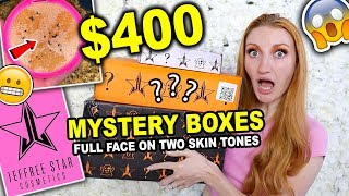 UNBOXING JEFFREE STAR MYSTERY BOXES + FULL FACE ON TWO SKIN TONES