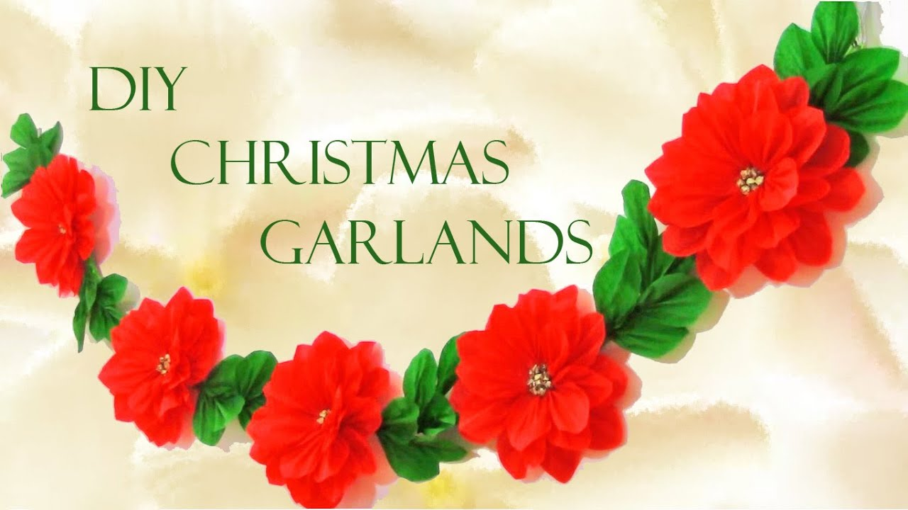 Diy guirnaldas navide as christmas garlands youtube for Adornos con plantas de nochebuena