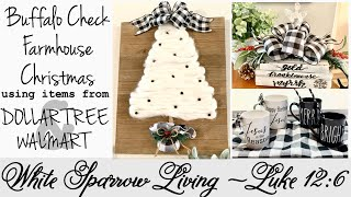 DIY BUFFALO CHECK FARMHOUSE CHRISTMAS DECOR | DOLLAR TREE