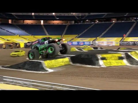 Grave Digger jump inside an empty Ford Field in Detroit