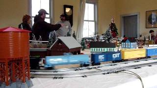 Grand Trunk Western train on Winter O Gauge layout