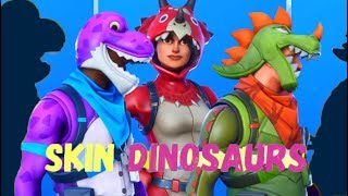FORTNITE-SKINS DINOSAURS BRONTO, TRICERA OPS, REX Comparacao + DANCE EMOTES of SEASON 10