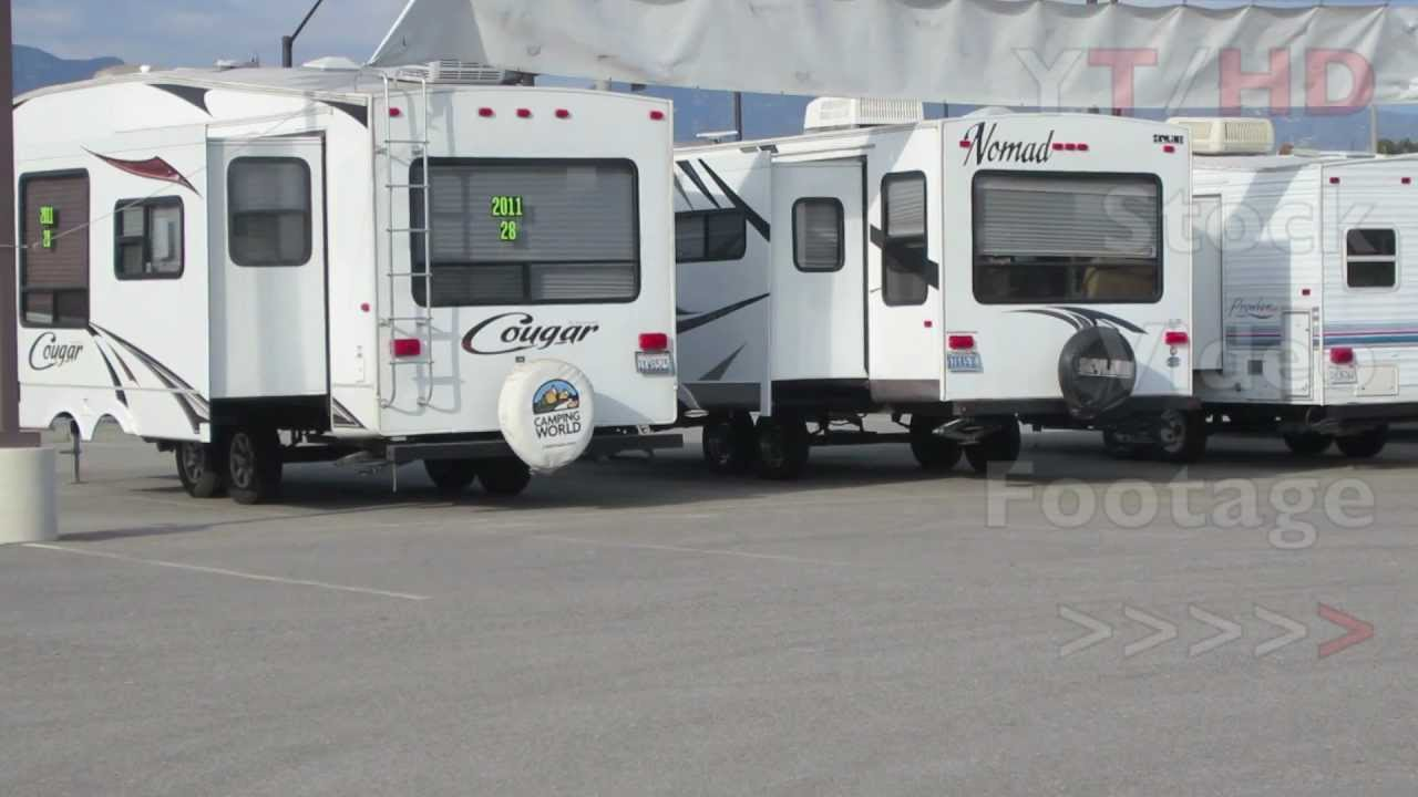 used travel trailers for sale from small lightweight campers to 5th wheels hd stock video footage