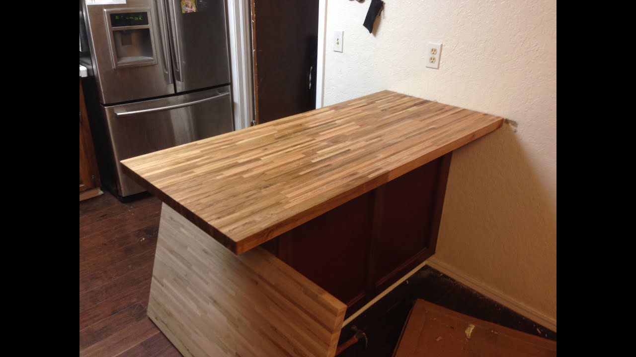 Install butcher block countertop island remove old countertop youtube