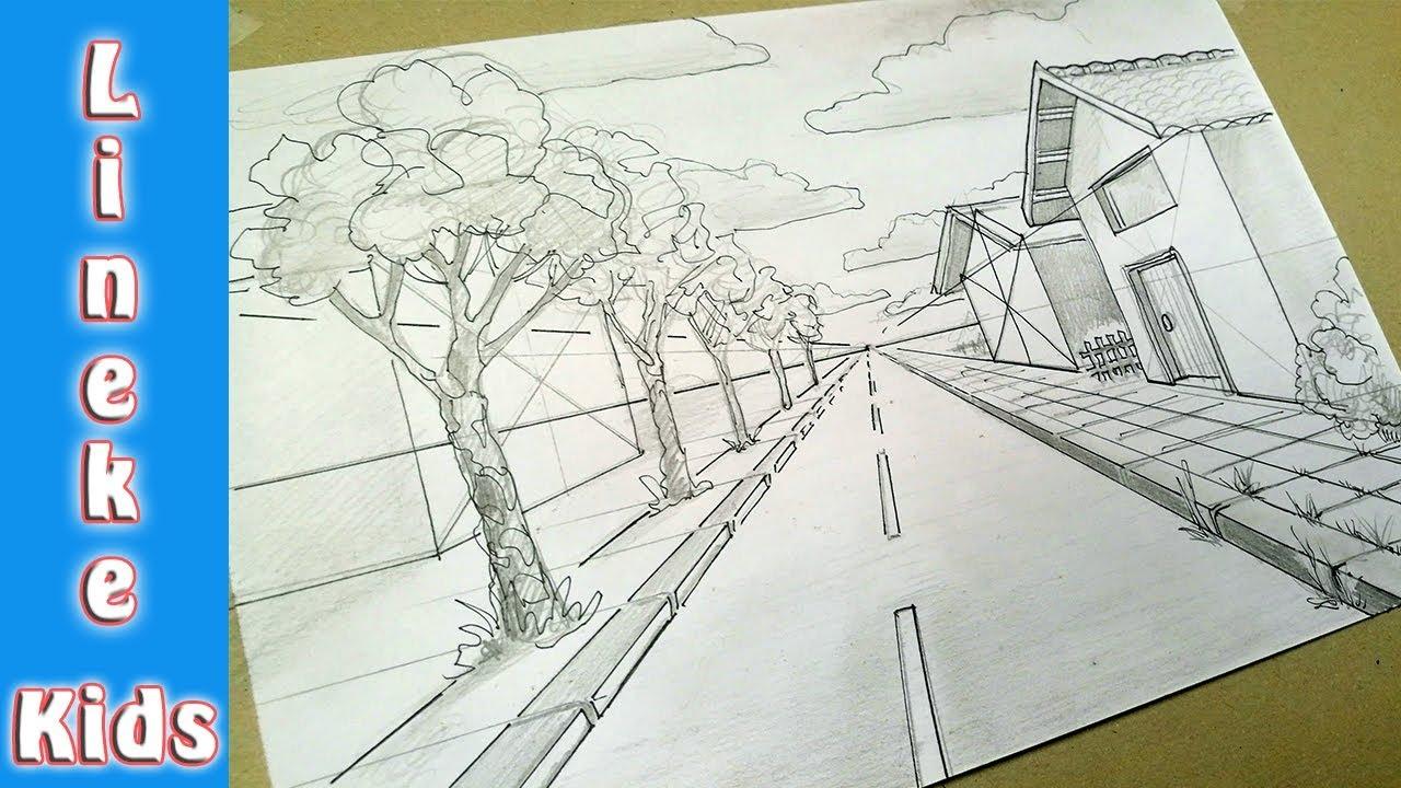 Hoe teken je perspectief straat tekenen met huis en boom for Huizen tekenen