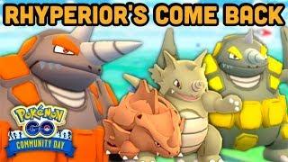 Rhyperior Community Day in Pokemon GO? | Rhyperior's power | 2 PKMN VS Rocket Leaders