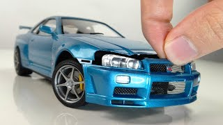 Building a Perfect Tiny Nissan GTR R34 Full Build Step by Step 1/24 Tamiya Car