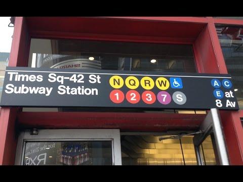 MTA NYC Subway: (1) (2) (3) (5) (7) (N) (Q) (R) (W) (S)huttle Trains @ Times Square 42nd Street