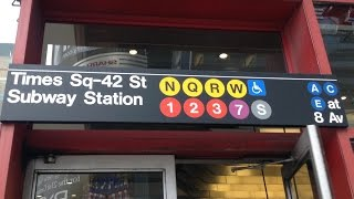 MTA NYC Subway: (1) (2) (3) (5) (7) (N) (Q) (R) (W) (S)huttle Trains @ Times Square 42nd Street