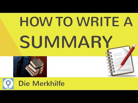 How To Write A Summary Wie Schreibe Ich Eine Zusammenfassung Im