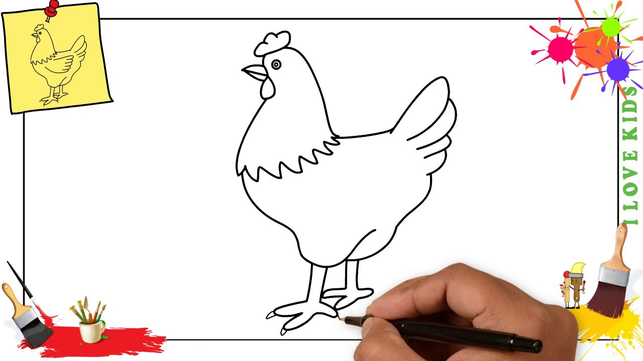 how to draw a chicken hen easy step by step for kids beginners children