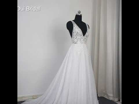 noiva-v-neck-wedding-dresses-beach-bridal-gown