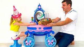 Nastya berpura-pura bermain selamat ulang tahun dengan ayah