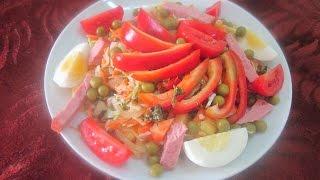 Простой вкусный салат из капусты с ветчиной сладким перцем и горошком_С нами вкусно всегда