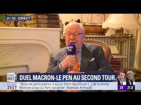 Réaction à chaud de Jean Marie Le Pen pendant les élections de 2017 sur BFM TV