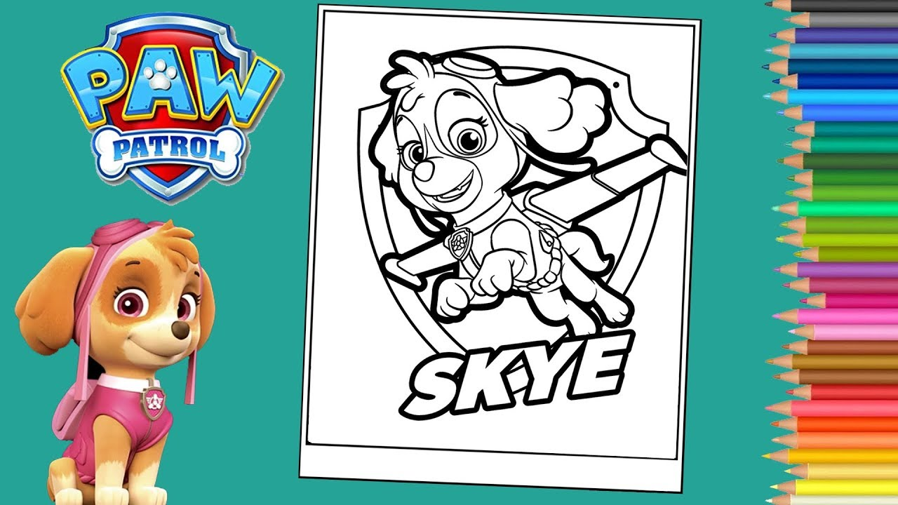 Coloring Skye Paw Patrol Coloring Page Coloriage Stella Pat