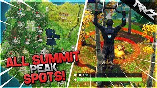 "Secret ""SUMMIT DIFFERENT MOUNTAIN PEAKS"" Challenge! ALL PEAK LOCATIONS! - Fortnite Battle Royale"