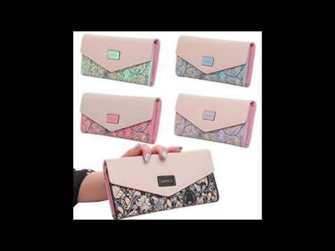 FUNOC Synthetic Leather Women Wallet Purse Credit Card Clutch holder Case (Black).