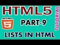 PART -9 ORDERED AND UNORDERED LISTS IN HTML # HTML5 TUTORIAL IN TAMIL