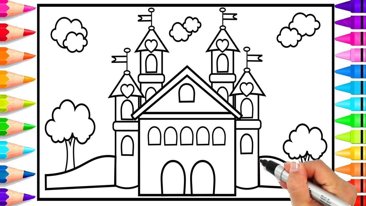 How To Draw A Princess Castle For Kids Castle Coloring Page How