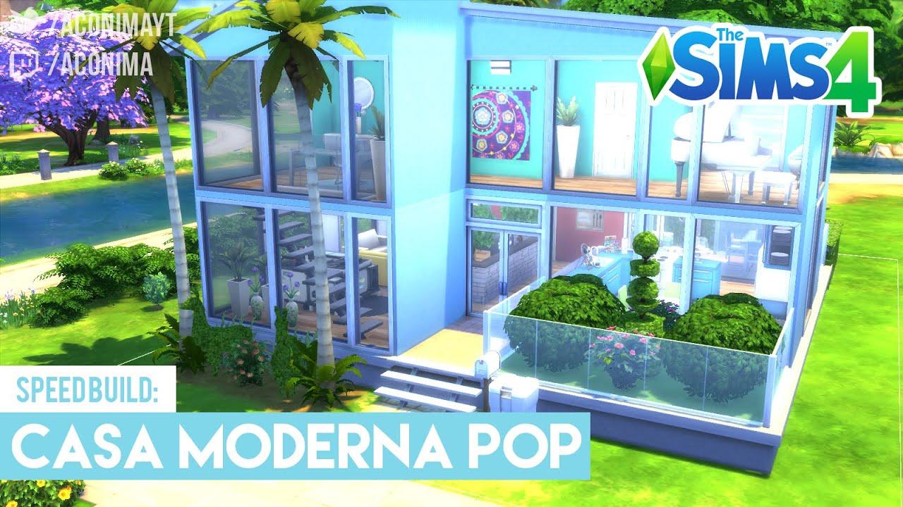 Sims 4 speed build casa moderna pop modern pop house for Sims 4 modelli di casa moderna
