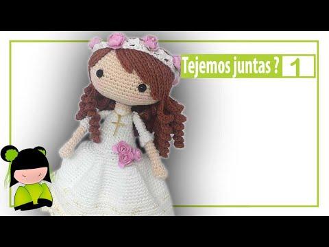 Como tejer muñeca de comunión paso a paso ❤ 1 ❤ ESCUELA GRATIS AMIGURUMIS