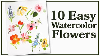 Easiest Way to Paint TEN Flowers with Watercolor!