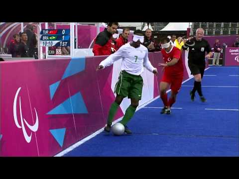 Football 5-a-side - TUR vs BRA - 1st Half P1  - Men's Prelim. Pool B - London 2012 Paralympic Games