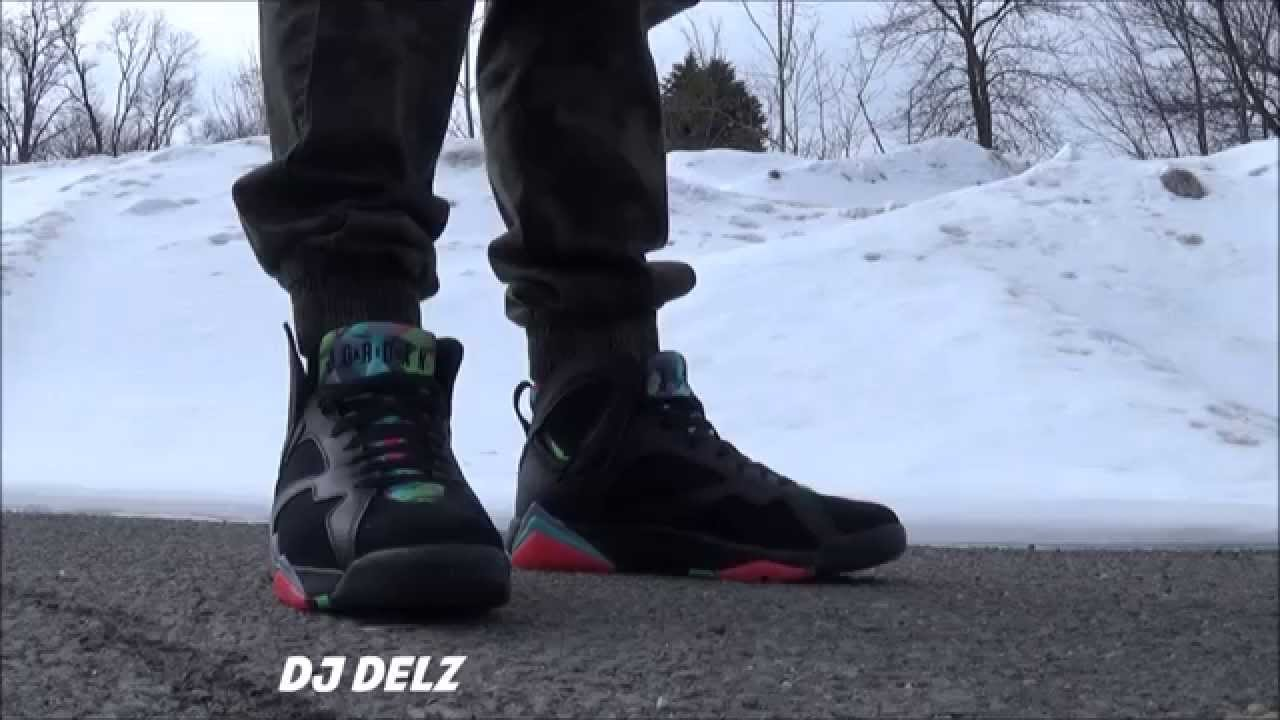 wholesale dealer 134c9 a0649 Air Jordan 7 Barcelona Nights AKA Marvin The Martian Retro Sneaker On Feet  - YouTube