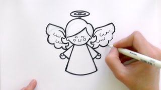 How to Draw a Cartoon Christmas Angel
